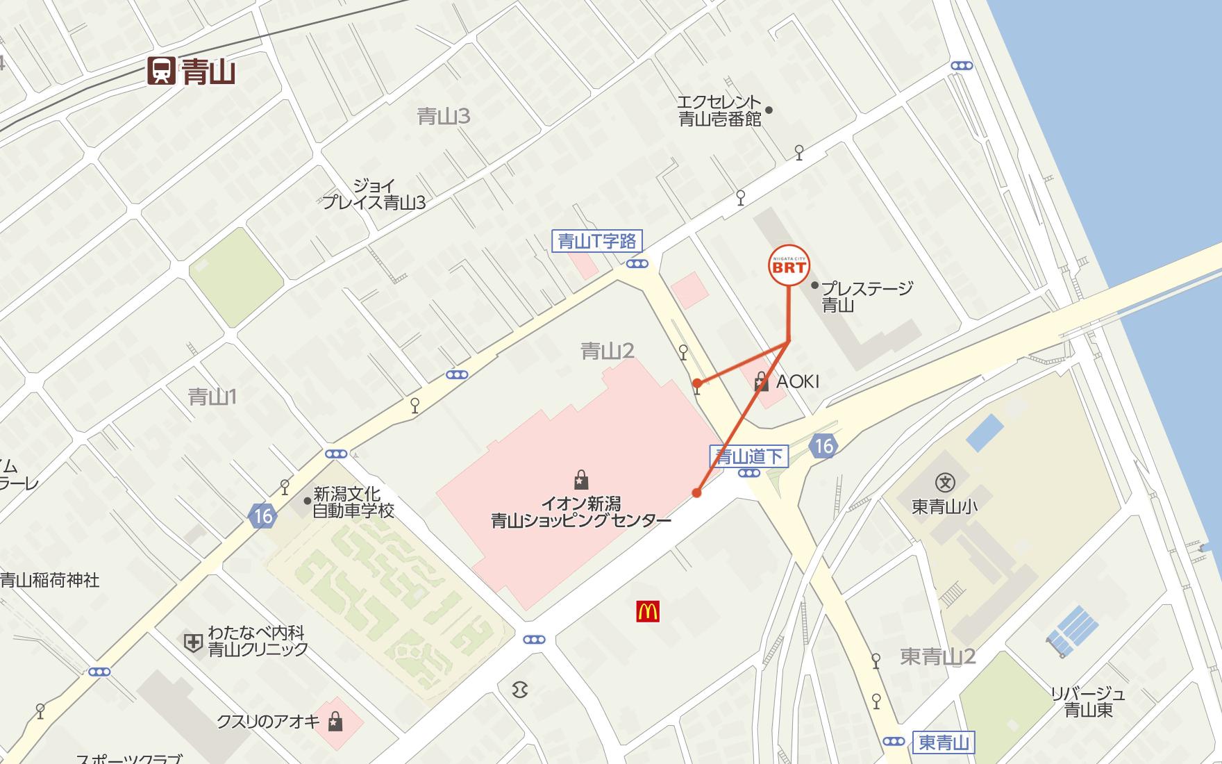 新潟市BRT青山 バス停の位置