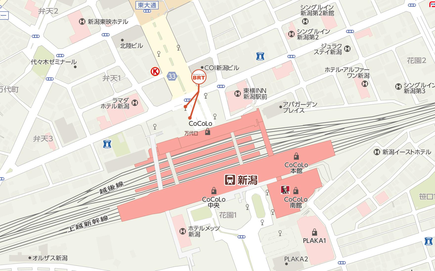 新潟市BRT新潟駅前 バス停の位置