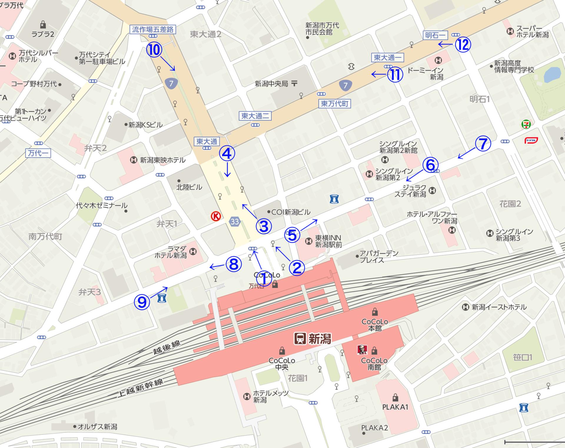 新潟駅前マップ撮影ポイントと方向