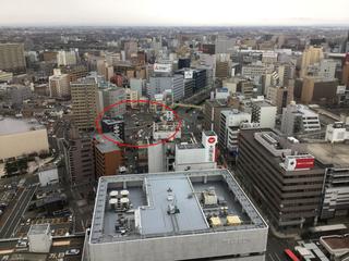 新潟日報メディアシップから見た万代5丁目再開発エリア(アパホテル&マンション)